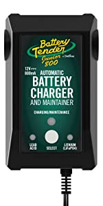 Battery Tender 12V, 800mA Selectable Lead Acid/Lithium Battery Charger