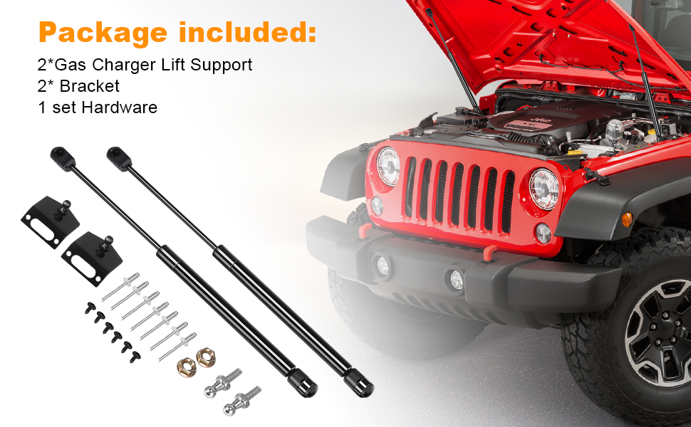 Hooke Road 2Pcs Front Hood Lift Support Kit for 2011-2018 Jeep Wrangler JK /& Unlimited