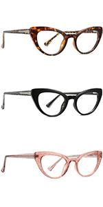 Blue Light Blocking Cat Eye Glasses, Women TR90 Lightweight Design Eyeglasses