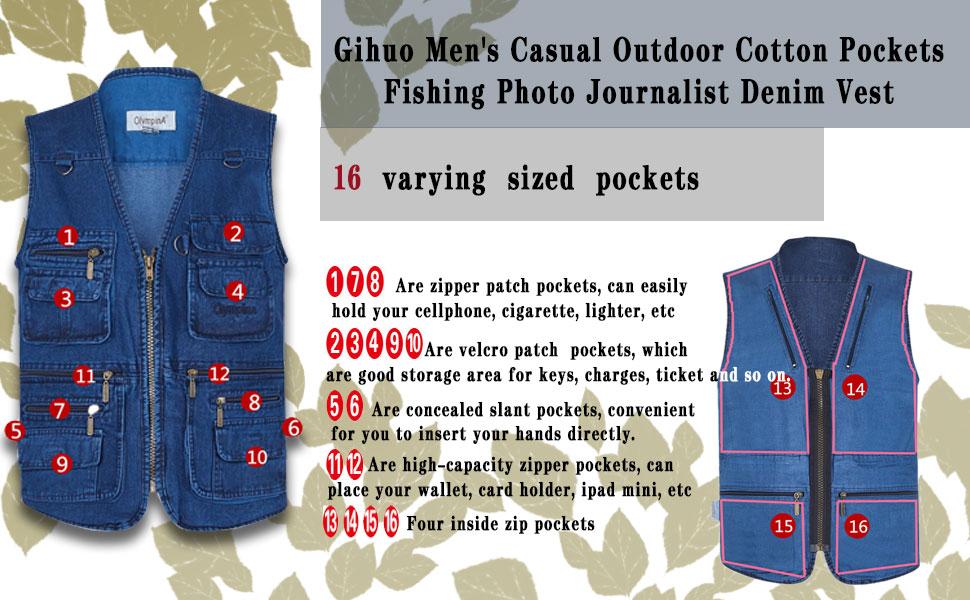 Gihuo Mens Outdoor Multi Pockets Fishing Photo Journalist Denim Vest