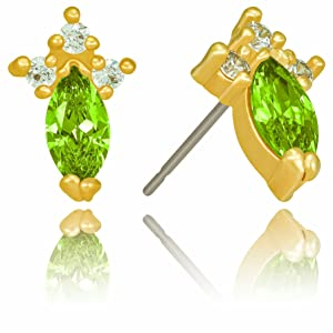 Hypoallergenic Minimalist Mothers Day Gift Emerald Stone and 18K Gold Plating Set of Necklace and Earrings Gifts for Her