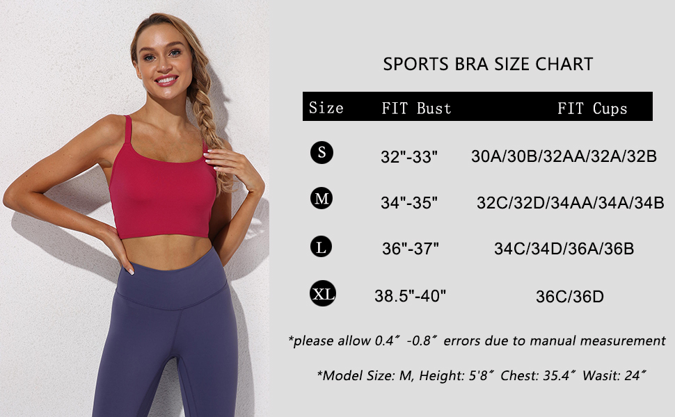 Womens Workout Sports Bra Padded Longline Crop Top Strappy Fitness Yoga Tank Cami Running Vest gym