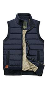 Mens Winter Warm Outdoor Padded Puffer Vest Thick Fleece Lined Sleeveless Jacket Mens Fleece Vest
