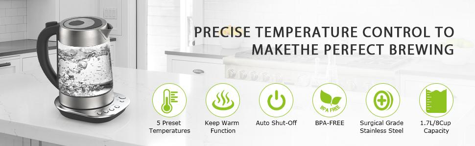 Bouilloire Électrique Thermostat Réglable,