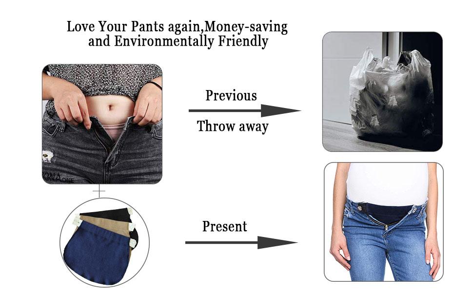 leegoal Pregnancy Waistband Extender Adjustable Elastic Pant Expectant Belly Belt Combo