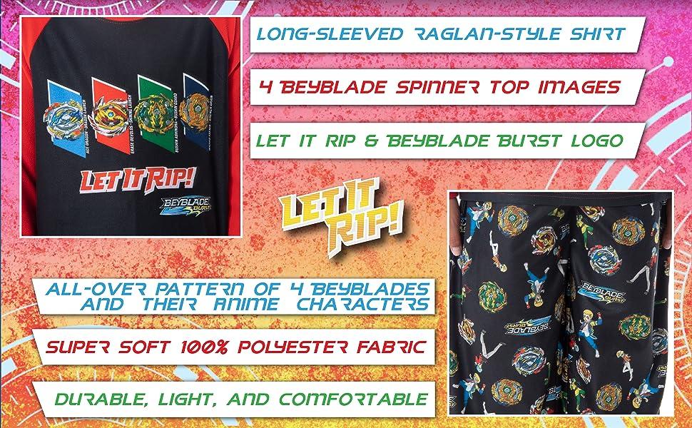 Beyblade Burst Boys' Spinner Tops Fafnir Let It Rip! 2 Piece Pajama Set