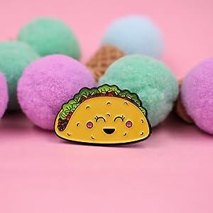Great Gift for Taco Lovers Kawaii Taco Enamel Pin Hats REAL SIC Taco Pin Cute Happy Taco Lapel Pin Perfect for Jackets Backpacks /& Tops