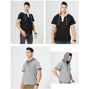 TOLOER Men's Short Sleeve Fashion Athletic Hoodies Sport Shirts Hip Hop Pullover