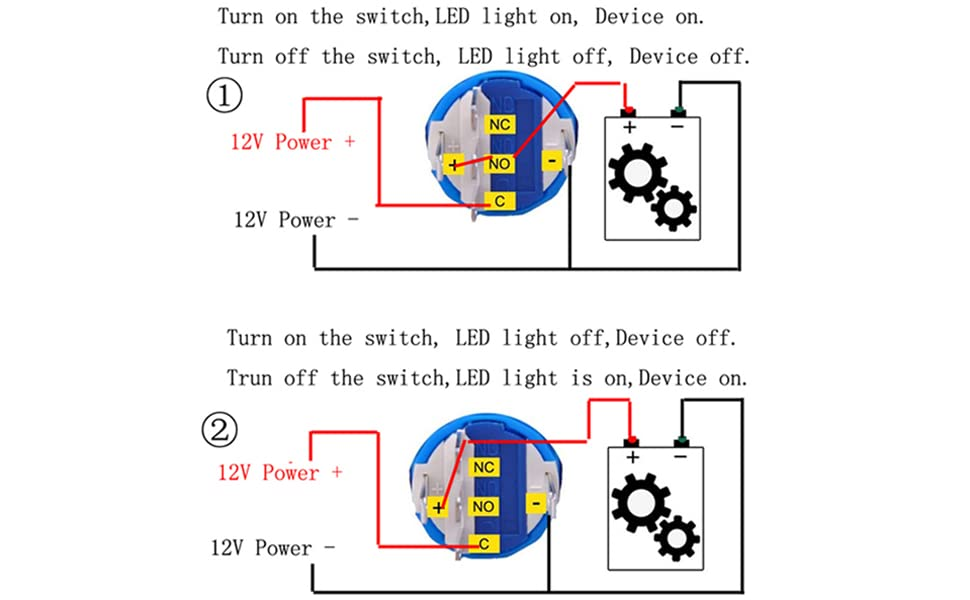 Amazon Com  New 12v 5a 12v 19mm Blue Led Momentary Push Button Metal Switch Car Boat Speakers