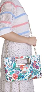 Clutch Purse for Women Evening Party Tote with Shoulder Chain Strap Lady Handbag-Floral Print