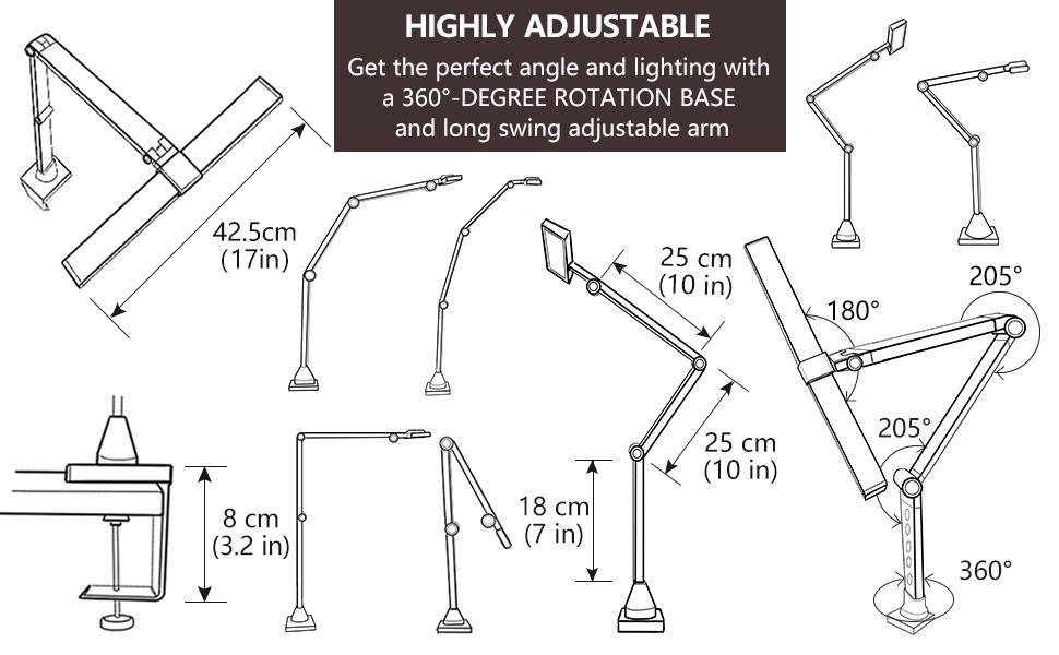 highly adjustable long swing arm large lighting wide lamp head