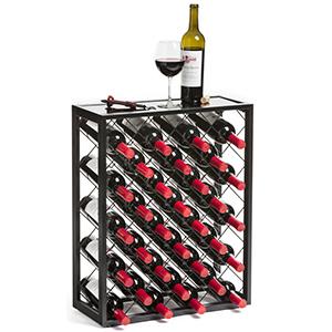Black 32 Bottle Free Standing Wine Rack Holder Organizer Storage