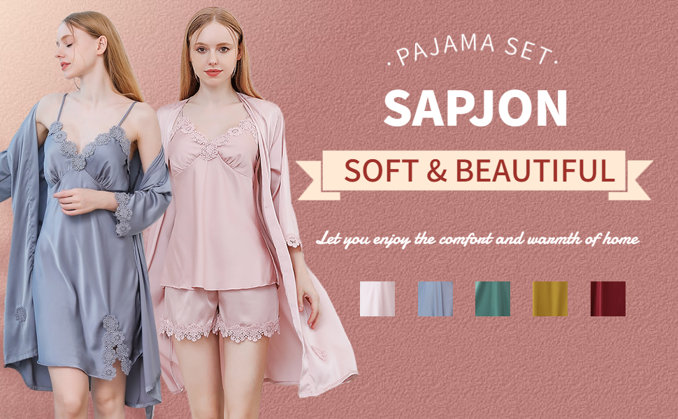 SAPJON Women's 4pcs Silk Satin Pajama Set