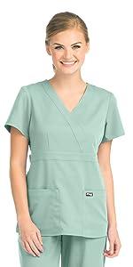 model wearing Women's Grey's Anatomy Mock Wrap Scrub Top