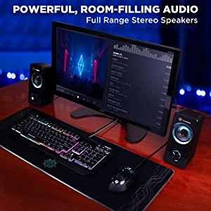 Powerful, Room-Filling Audio Full Range Stereo Speakers