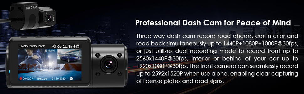 three way dash cam