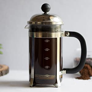 InstaCuppa French Press Coffee Maker with Measurement Markings