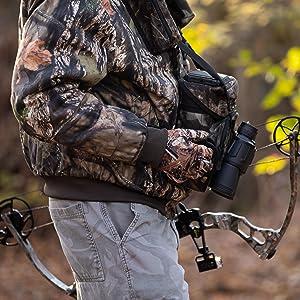 binocular harness, binocular case, binocular chest harness hunting; binocular chest harness hunting