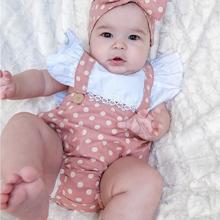 Cute Baby Girls Pink Polka Dot Ruffle Romper With Headband