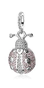 Pink Ladybug Dangle Charms