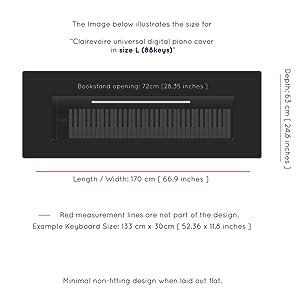 Funda protectora Clairevoire 76-88 para teclado y piano digital | Forro interior impermeable mejorado | apertura de atril | Diseño minimalista ...