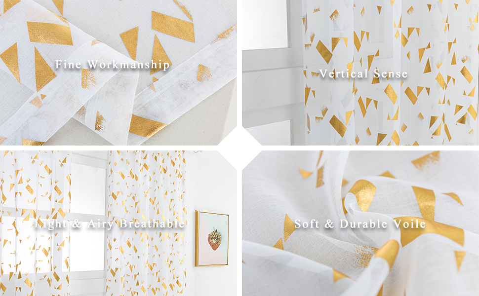 gold white sheer curtains detail information