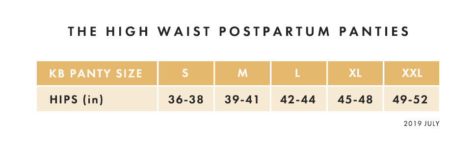 HW Postpartum Panty Size Chart