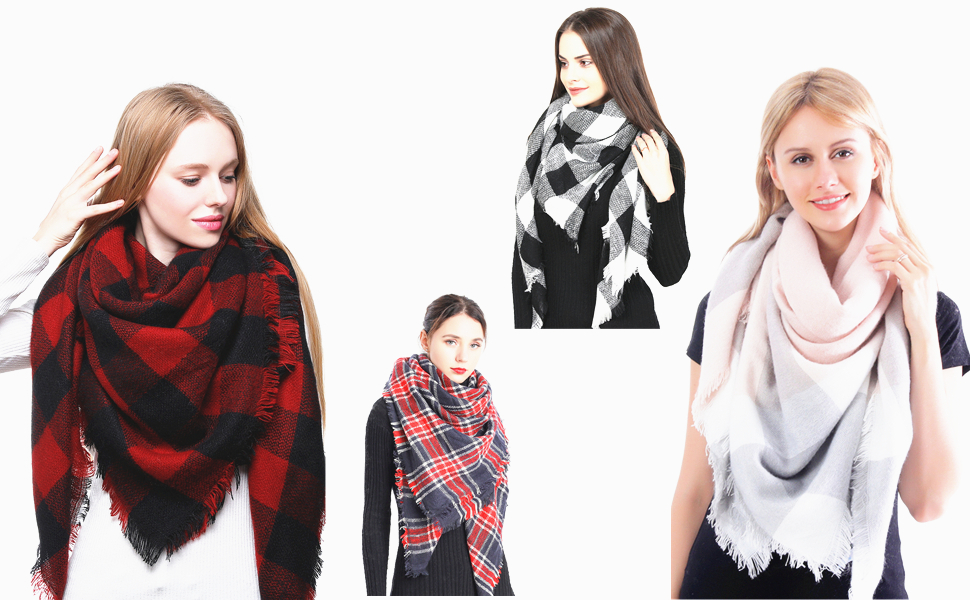 black and red big square scarf