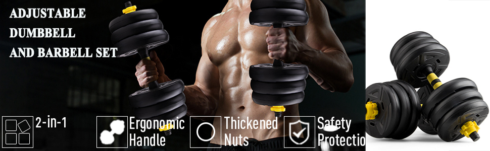 adjustable dumbbell and barbell weight set: ergonomics handle, safety protection and thicken nuts