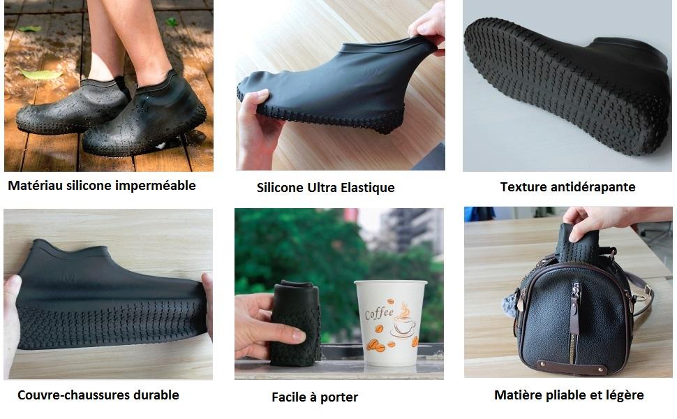 Couvre Chaussures en Silicone R/éutilisables avec Semelle Renforc/ée Antid/érapante pour Les Jours Pluvieux et Neigeux pour Hommes ydfagak Couvre Chaussures Imperm/éables Femmes