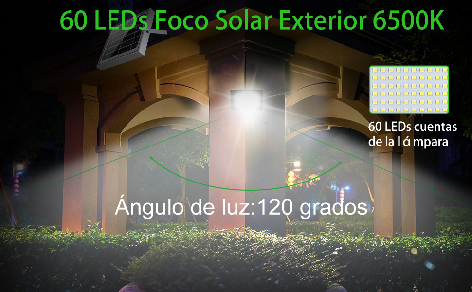 Foco Solar CLY 60 LED Luz Solar Lámpara Solar Exterior 60 LED con ...