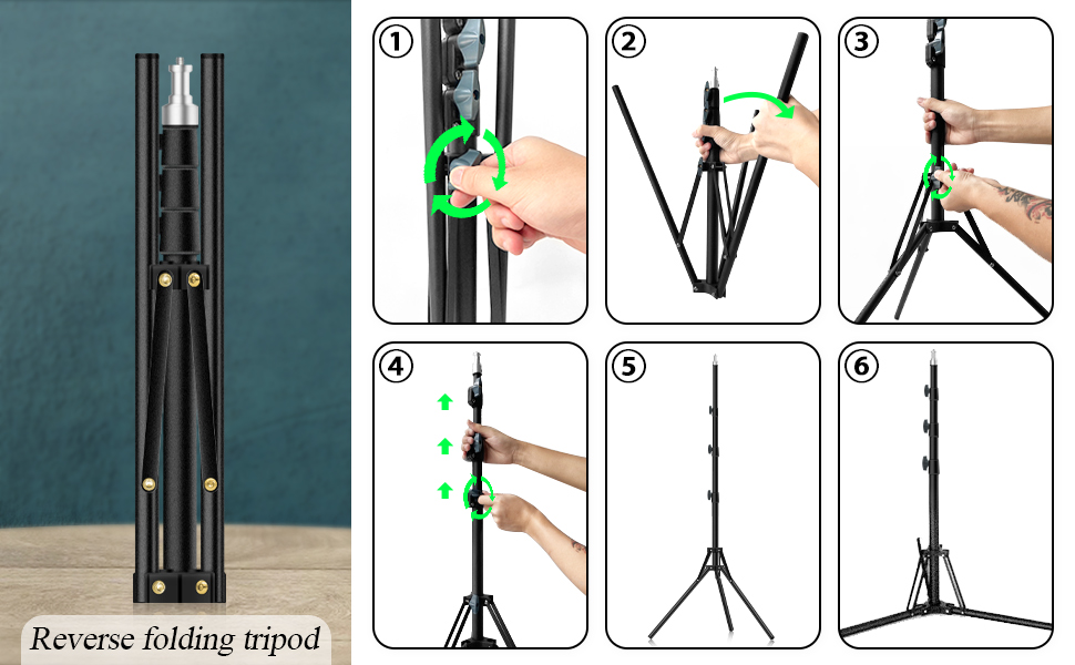 Foldable ring light tripod