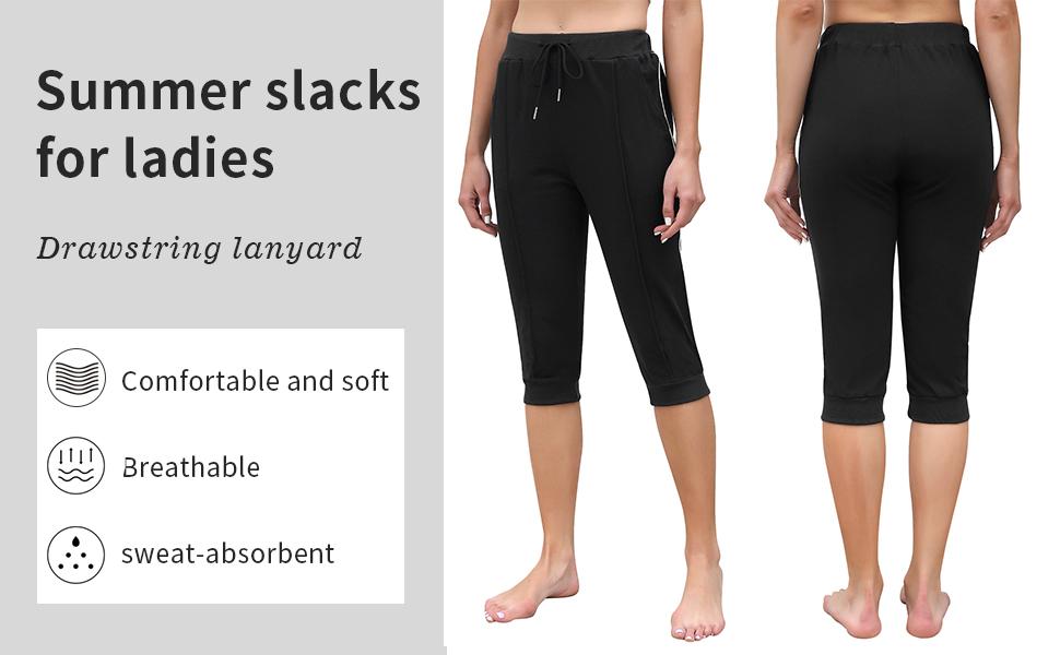 Womens Capri Jogger Pants Drawstring Yoga Workout Pants with Pockets
