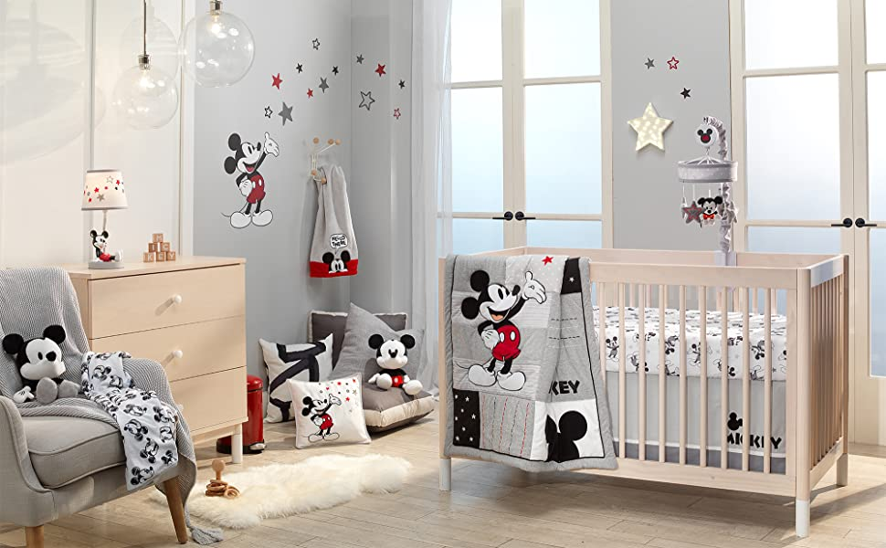 Magical Mickey Mouse Nursery with Musical Crib Mobile
