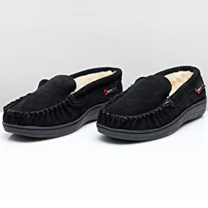 mens slipper suede leather house shoes comfort slip on moccasin slippers yukon alpine swiss