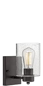 Wall Light Sconce Beionxii Industrial Bathroom Vanity Lighting Oil Rubbed Bronze Clear Seeded Glass