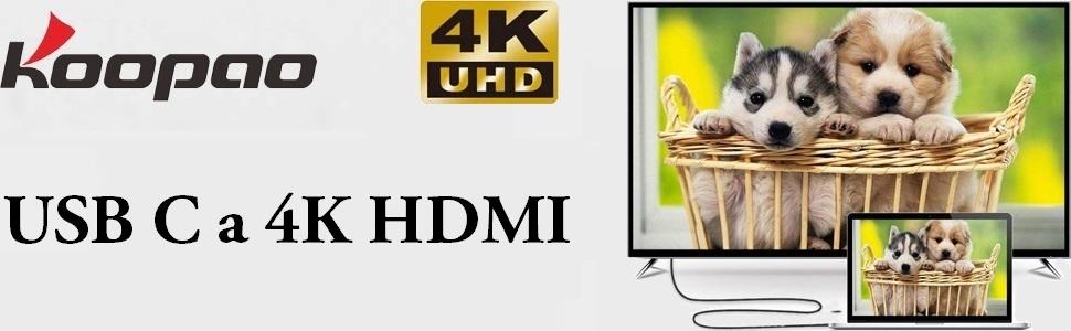 Adaptador de Cable USB C a HDMI 4K, KOOPAO Tipo C a Thunderbolt 3, Compatible con MacBook Air, iPad Pro, DELL Surface Book y Samsung S10 S9 S8 y más (6FT/1.8M): Amazon.es: