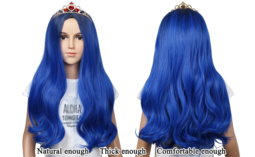 Dark Root Blue ColorGround Long Wavy Dark Root Blue Wig with Crown for Women
