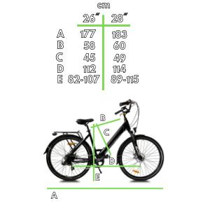 measures vélo électrique trekking Sidney Urbanbiker