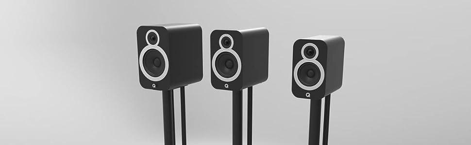 Q Acoustics 3000i range speaker size comparison