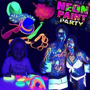 Neon party lights costumes decorations glow paints pens