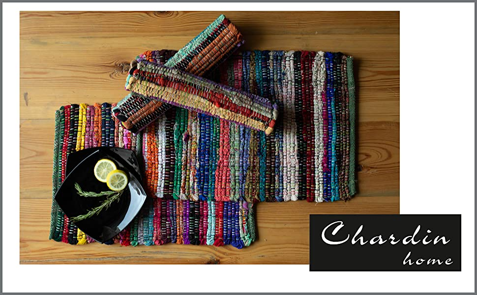 Set of four Rag Rug Chindi placemats, brightly colored, uniquely handcrafted, perfect for any meal