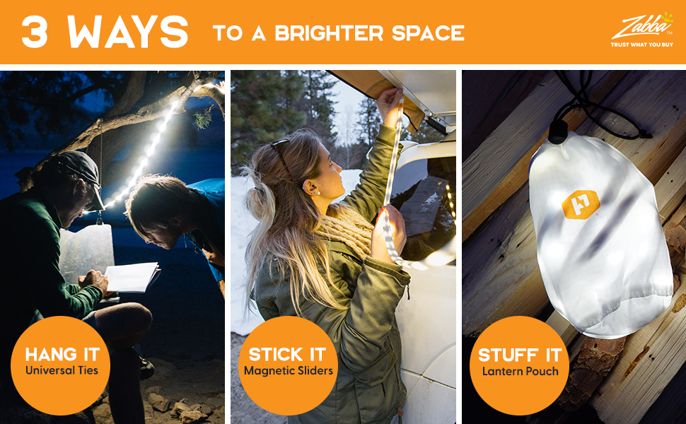 Various hanging methods for Luminoodle camping light