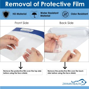 Image of the face shield showing the removal of protective film before use.