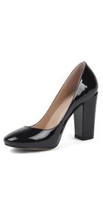 block chunky high heel round toe pumps