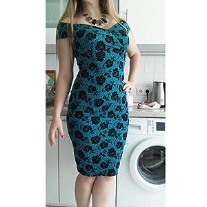HOMEYEE – Vestido ceñido de mujer con estampado floral vintage, con tirantes, hombros descubiertos, largo hasta la rodilla, B309: Amazon.es: Ropa y accesorios