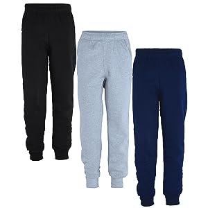 Kids Plain Pants Girls Fleece Joggers Boys Tracksuit Bottoms Bundle Pack of 2