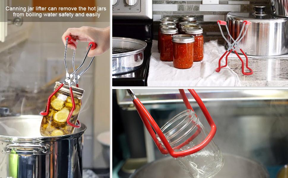 Restaurante BestCool Juego de 5 Pinzas para Levantar tarros para conservas de Acero Inoxidable con Mango de Agarre y Cepillo de Limpieza de Gel de s/ílice para tarros Anchos y Regulares de Cocina