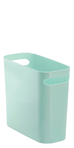 Slim Plastic Rectangular Small Trash Can Wastebasket, Garbage Container Bin with Handles