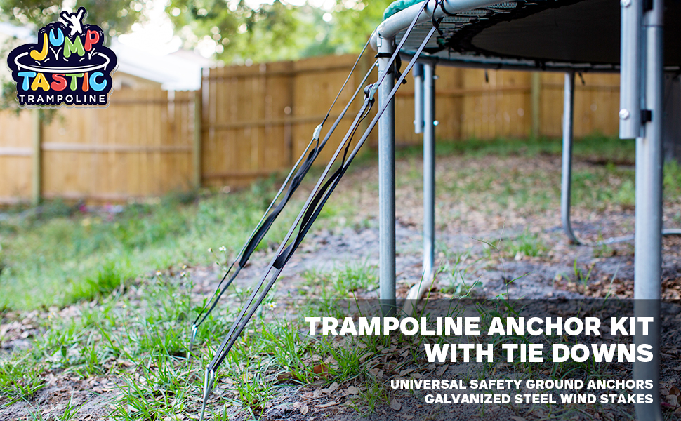 4xSet of Trampoline Tie Down Anchor Kit Wind Stakes UNIVERSAL FIT